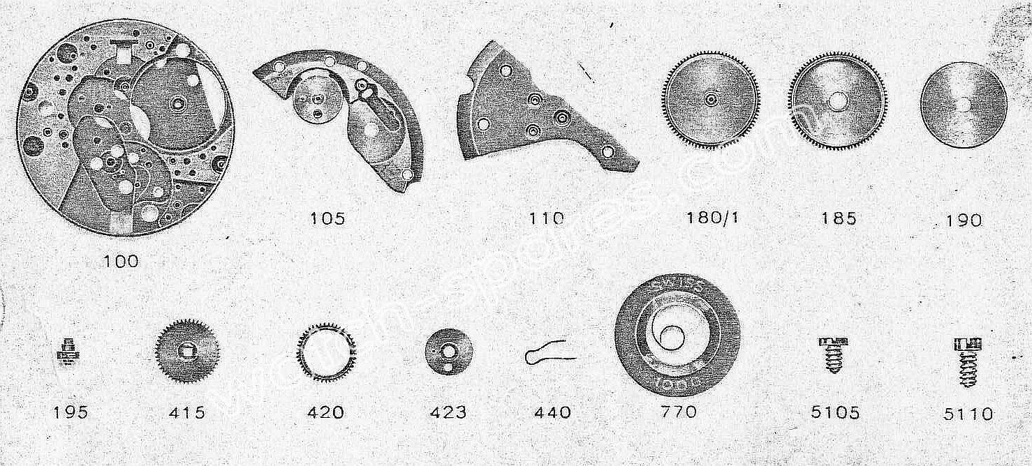 Zodiac 61 watch parts