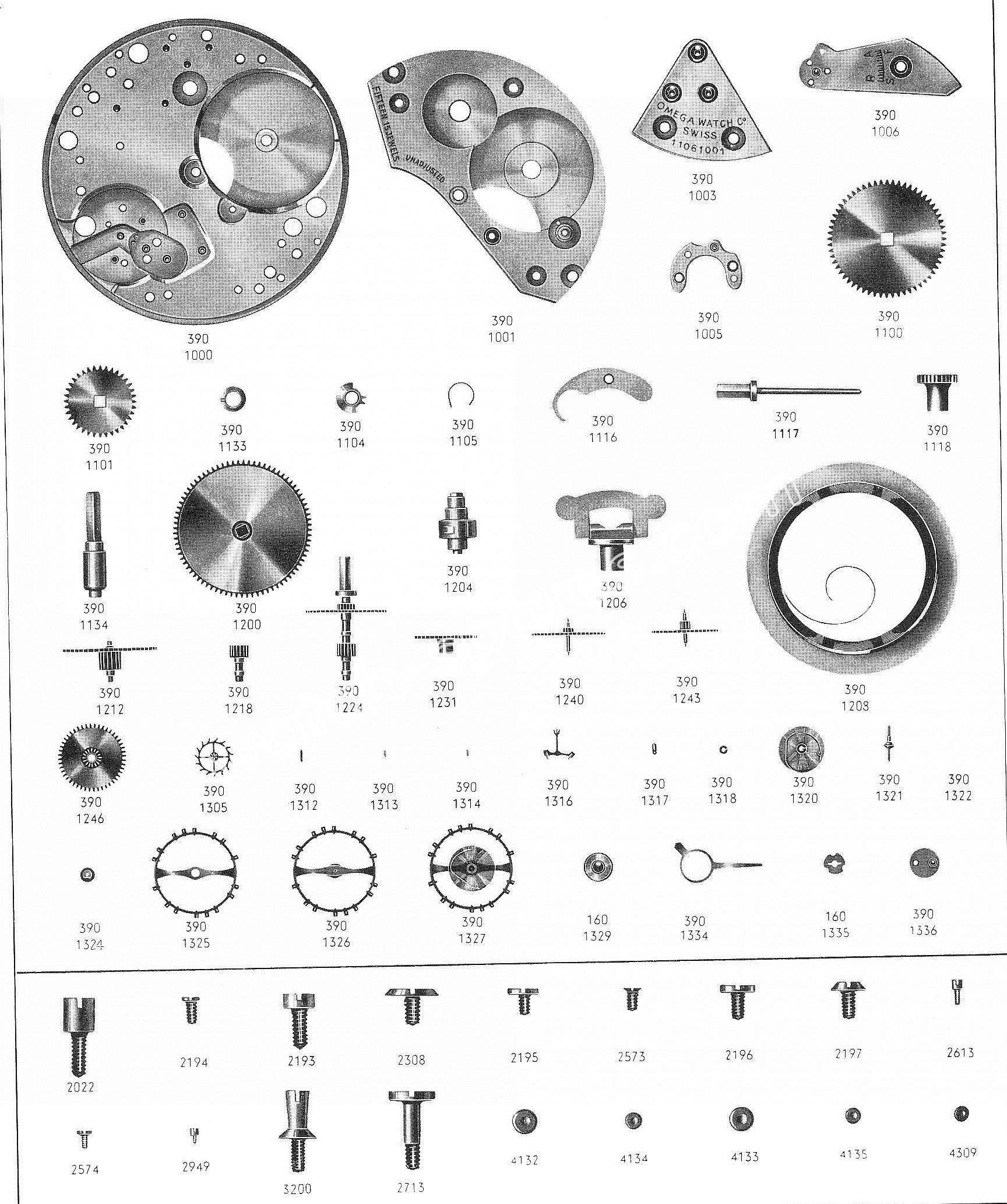 Omega 390 watch parts
