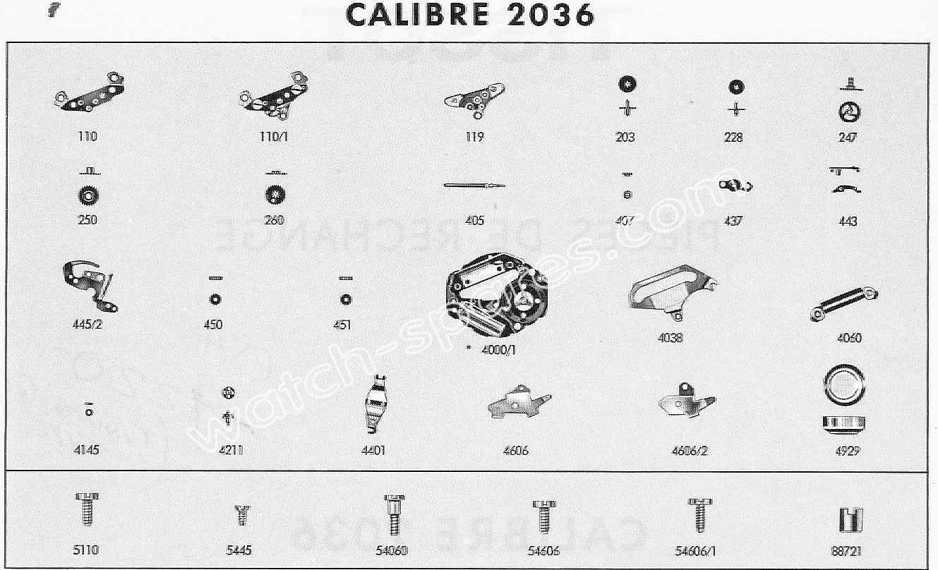 Tissot 2036 watch spare parts