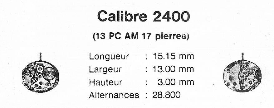 Tissot 2400 watch movements