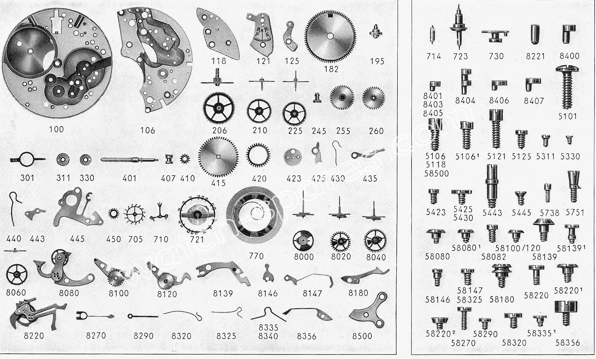 Landeron 185 watch chronograph spare parts