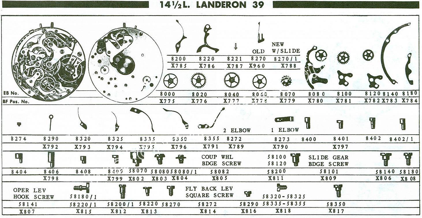 Landeron 39 watch chronograph spare parts