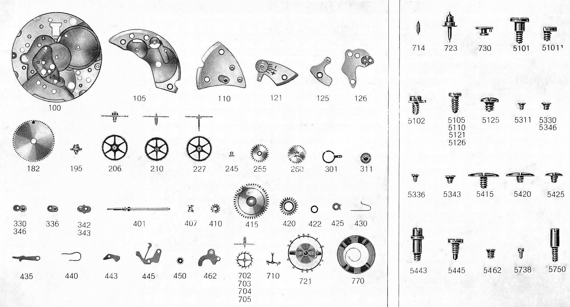 FHF Font 74 watch spare parts