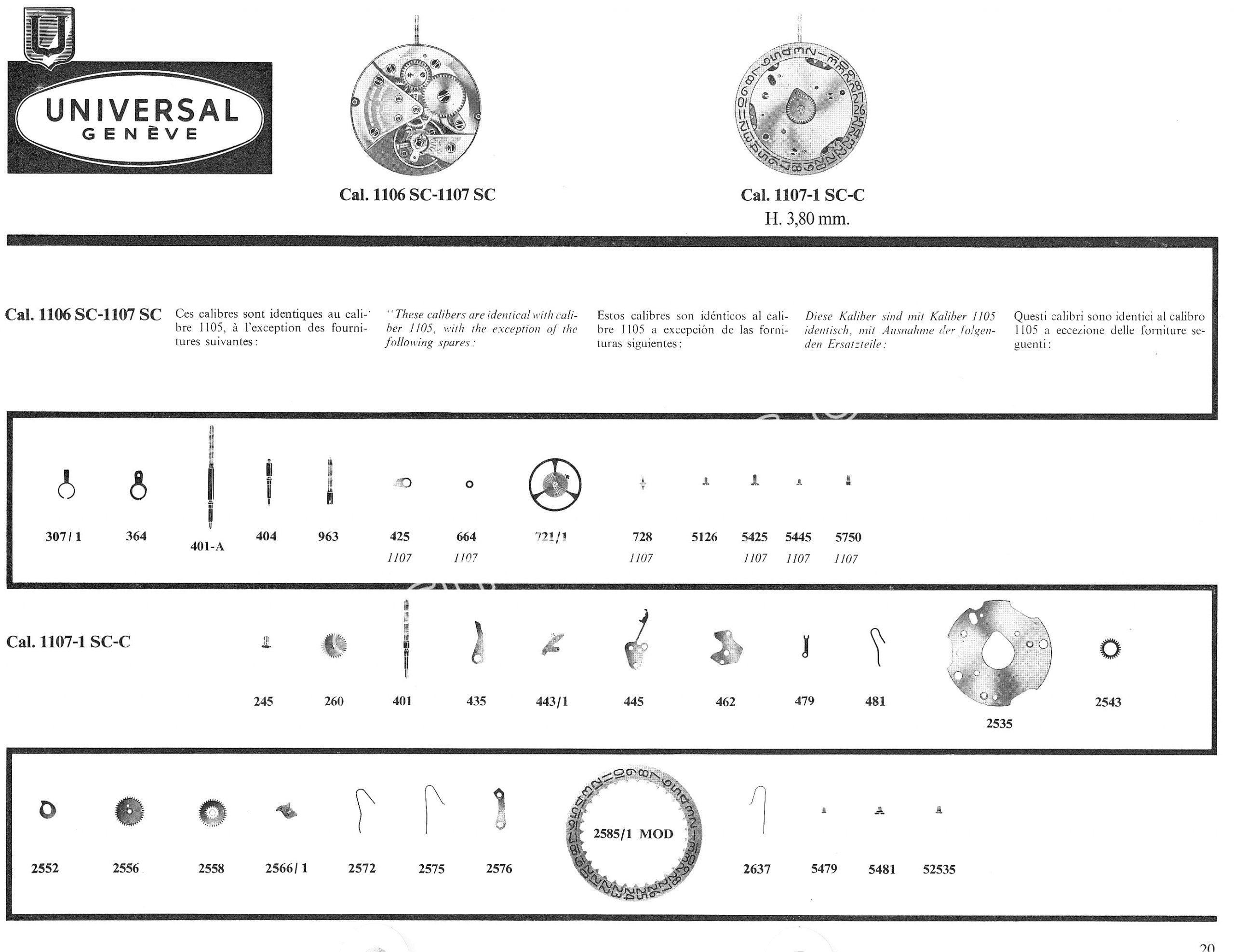 Universal 1107 1 SC C watch movements watch spare parts